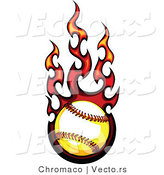 Vector of a Flaming Softball in Flight by Chromaco