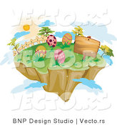 Vector of a Floating Island with Painted Easter Eggs by BNP Design Studio