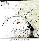 Vector of a Floral Grunge Background with Black Vines and Red Flowers by L2studio