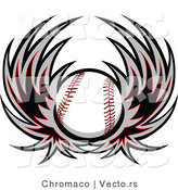 Vector of a Flying Baseball with Wings by Chromaco