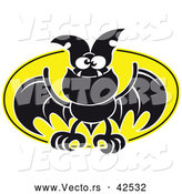 Vector of a Flying Cartoon Bat Against a Full Moon by Zooco