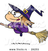 Vector of a Flying Cartoon Girl Witch During Halloween by Toonaday