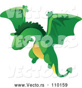 Vector of a Flying Cartoon Green Dragon by BNP Design Studio