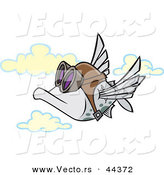 Vector of a Flying Cartoon Pilot Fish by Toonaday
