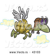Vector of a Flying Cartoon Turtle Wearing Pilot Goggles and a Set of Wings Attached to His Shell by Ron Leishman