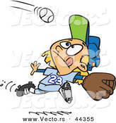 Vector of a Focused Cartoon Girl Running to Catch a Baseball by Toonaday