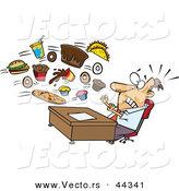Vector of a Food Flying Towards Shocked Cartoon Businessman Sitting Behind His Office Desk by Toonaday
