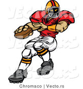 Vector of a Football Player Quarterback Preparing to Throw Ball by Chromaco