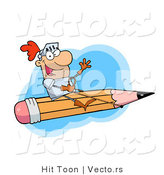 Vector of a Freelance Knight Flying in the Sky on a Giant Pencil by Hit Toon