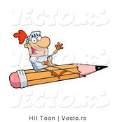 Vector of a Freelance Knight Flying on a Giant Pencil by Hit Toon