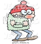 Vector of a Freezing Cold Cartoon Guy Shivering to Death by Gnurf