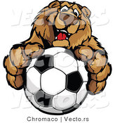 Vector of a Friendly Cartoon Bear Mascot Gripping Soccer Ball with Paws by Chromaco