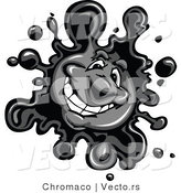 Vector of a Friendly Cartoon Black Ink Splatter Mascot by Chromaco