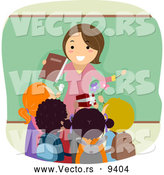 Vector of a Friendly Cartoon Female School Teacher Being Greeting with Gifts from Her Happy Students by BNP Design Studio