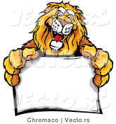Vector of a Friendly Cartoon Lion Mascot Holding a Blank Sign by Chromaco