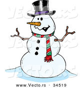 Vector of a Friendly Cartoon Snowman by Toonaday