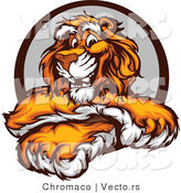 Vector of a Friendly Cartoon Tiger Mascot with Crossed Paws by Chromaco