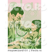 Vector of a Friendly Male Doctor Using Stethoscope on a Child by Mayawizard101