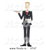 Vector of a Friendly Waiter Holding a Platter Tray by BNP Design Studio