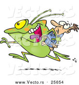 Vector of a Frog Monster or Alien Abducting a Scared Man by Toonaday