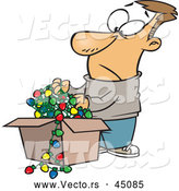 Vector of a Frowning Cartoon Man Pulling out Tangled Wires with Christmas Lights from a Storage Box by Toonaday