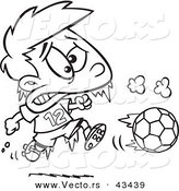 Vector of a Frozen Cartoon Boy Playing Soccer - Coloring Page Outline by Ron Leishman