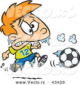 Vector of a Frozen Cartoon Boy Playing Soccer in Cold Weather by Ron Leishman