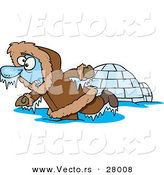 Vector of a Frozen Cartoon Eskimo Beside an Igloo by Toonaday