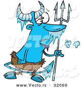 Vector of a Frozen Cartoon Faun with a Trident by Toonaday