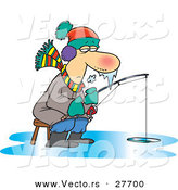 Vector of a Frozen Cartoon Man Fishing on Ice by Toonaday