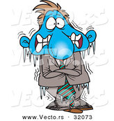 Vector of a Frozen Cold Cartoon Businessman by Toonaday