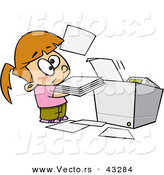 Vector of a Frusterated Cartoon Girl Trying to Use a Complicated Copier Machine by Toonaday