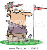 Vector of a Frustrated Cartoon Golfer's Ball Seated on a Red Flag Within the Hole by Toonaday