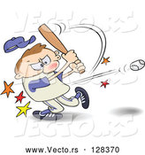 Vector of a Frustrated Cartoon Man Hitting a Baseball with a Bat by Gnurf