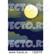 Vector of a Full Moon in Night Sky with Stars by Graphics RF