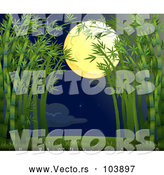 Vector of a Full Moon over Bamboo Forrest Path by Graphics RF