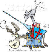 Vector of a Funny Cartoon Jouster on a Donkey with Lance and Shield by Toonaday