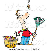 Vector of a Funny Cartoon Man Holding a Rake While Standing Beside a Bag of Leafs and Watching One More Leaf Fall Towards the Ground by Toonaday