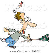 Vector of a Funny Cartoon Man Running with a Rake While Getting Knocked out by a Falling Leaf by Toonaday