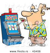 Vector of a Gambling Cartoon Man at a Casino Slot Machine by Toonaday