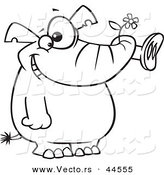 Vector of a Giddy Cartoon Elephant Holding a Flower in His Trunk - Coloring Page Outline by Ron Leishman
