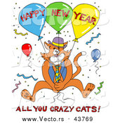 Vector of a Ginger Cat in a Vest and Tie, Holding onto Balloons and Surrounded by Confetti at a Party, with Happy New Year All You Crazy Cats Text by LaffToon