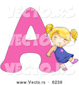 August 25th, 2017: Vector of a Girl Leaning on Alphabet Letter a by BNP Design Studio