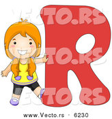 August 25th, 2017: Vector of a Girl Touching Alphabet Letter R by BNP Design Studio