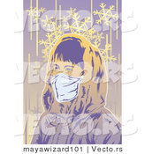 Vector of a Girl Wearing Protective Mask Outside in Cold Winter Weather by Mayawizard101