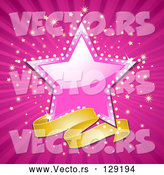 Vector of a Gold Banner Below a Shiny Pink Star, with a Sparkling Background by Elaineitalia