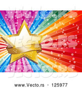 Vector of a Gold Star and Sparkly Banner on a Bursting Rainbow Background by Elaineitalia