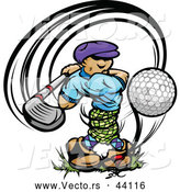 Vector of a Golfer Teeing off with a Great Swing by Chromaco