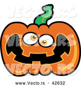 Vector of a Goofy Cartoon Jackolantern by Zooco