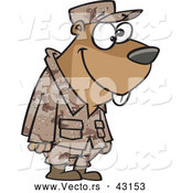 Vector of a Goofy Cartoon Military Gopher Standing in Uniform by Toonaday